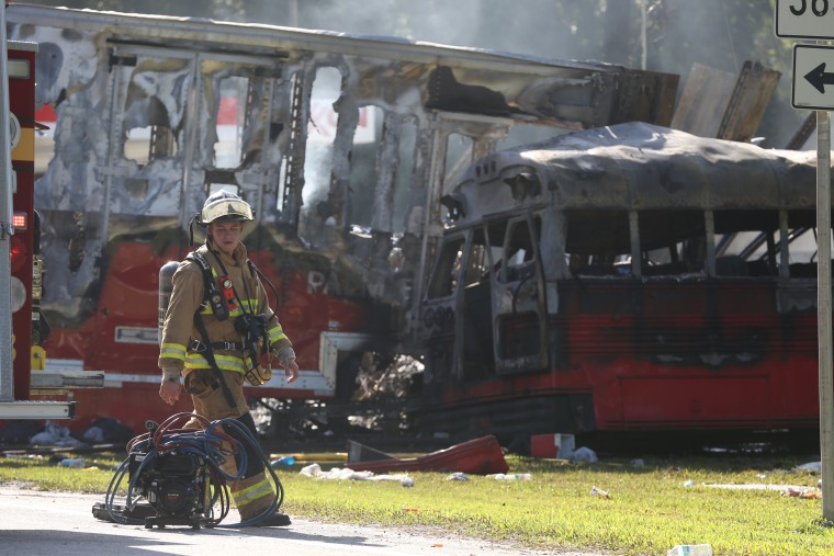Wakulla County first responders work on the scene of an accident on Saturday, July 2, 2016 in Wakulla, Fla.  The Florida Highway Patrol says a bus and tractor trailer collided on a highway in the Panhandle. Florida Highway Patrol Capt. Jeffrey Bissainthe says the bus was carrying between 30 and 35 passengers and was from Georgia.
