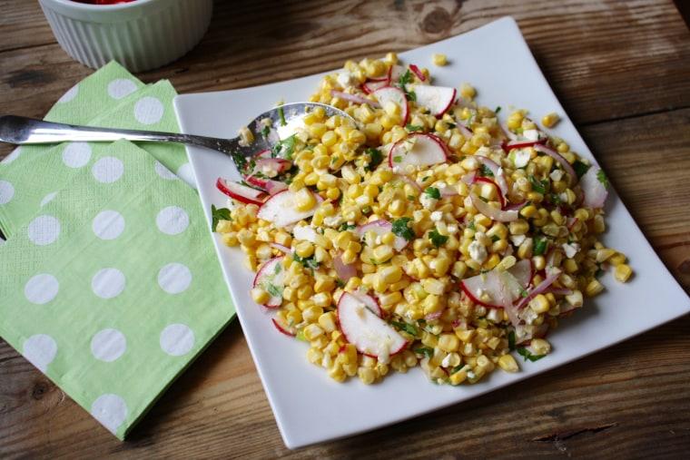 Corn salad with radish and feta