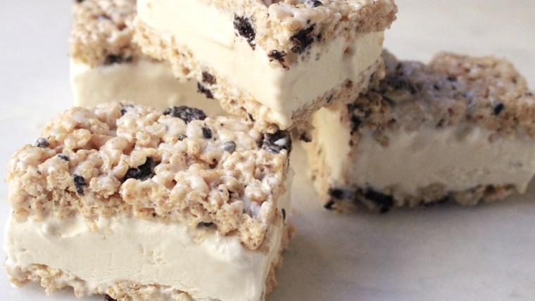Rice Krispies Treat Ice Cream Sandwiches