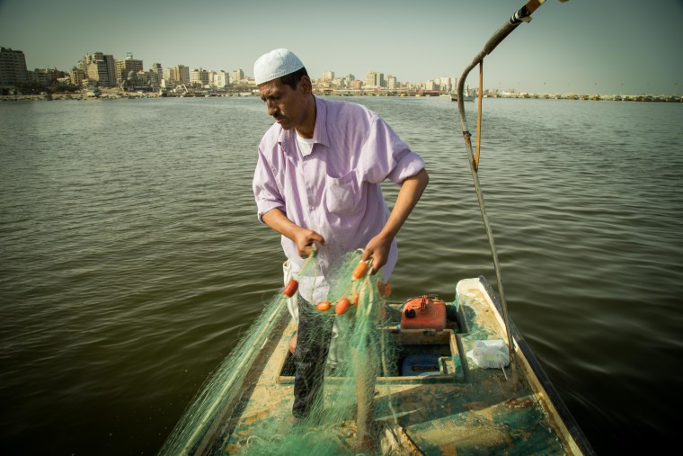 Image: A Gaza fisherman gets ready to cast his net