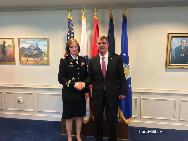 Army Captain Jennifer Peace with Secretary of Defense Ash Carter a week before the military lifted its ban on transgender service members serving openly.