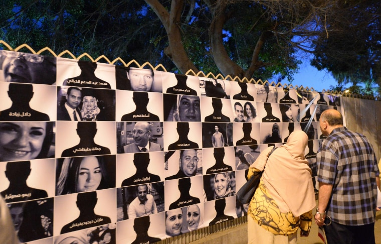 Image: Posters showing victims of EgyptAir crash