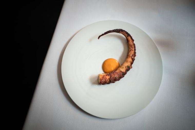 Gochujang octopus, served at a KoreaNYC dinner at Jungsik in New York City.