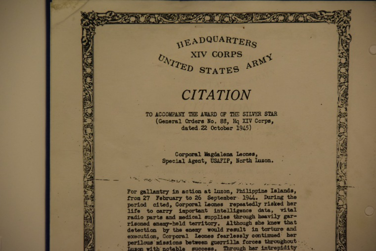 An excerpt of Leones' Silver Star citation