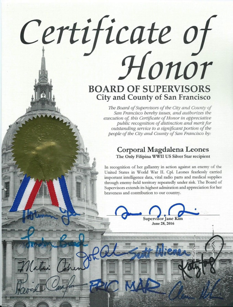 Leones' certificate of honor from the San Francisco Board of Supervisors