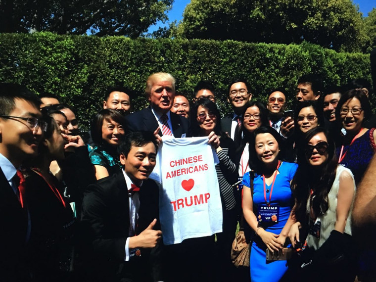 Presumptive Republican presidential candidate Donald Trump meeting with members of Chinese Americans for Trump on June 3 in Beverly Hills, California.