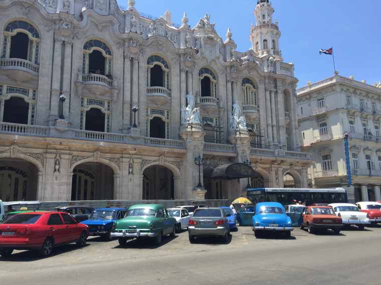 Cars parked outside of the National Theater in Havana, Cuba, August 2015.
