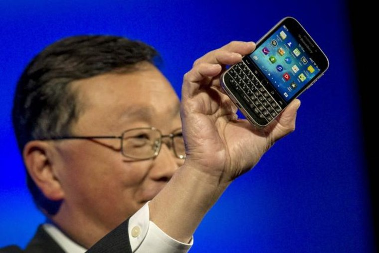 BlackBerry Chief Executive Officer John Chen with the new Blackberry Classic smartphone in New York