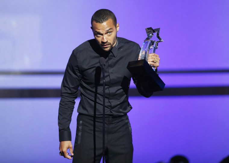 Image: Jesse Williams accepts his award during the 2016 BET Awards in Los Angeles