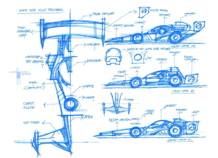 Sketches of an Iron Man race car designed by Ratanasirintrawoot.