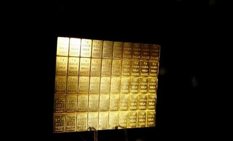 One-gram gold bars are displayed at the annual meeting of German Sparkasse savings banks in Duesseldorf