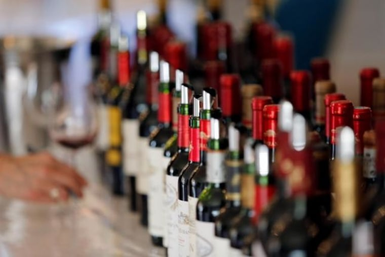 Bottles of wine are displayed at the Chateau Bouscaut in Cadaujac during the start of a week of wine tasting at the chateaux in the Bordeaux region