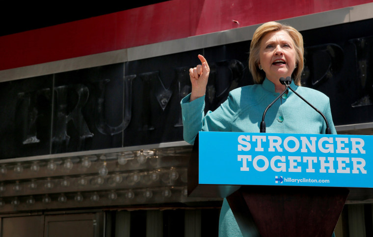 Image: U.S. Democratic presidential candidate Clinton delivers a campaign speech outside the shuttered Trump Plaza in Atlantic City