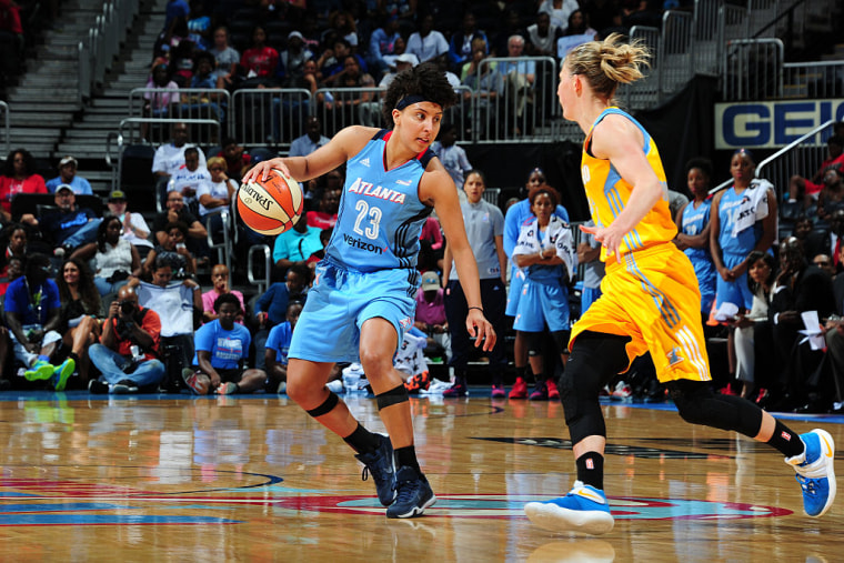 Layshia Clarendon #23 of the Atlanta Dream handles the ball against the Chicago Sky on June 17, 2016 at Philips Arena in Atlanta, Georgia.
