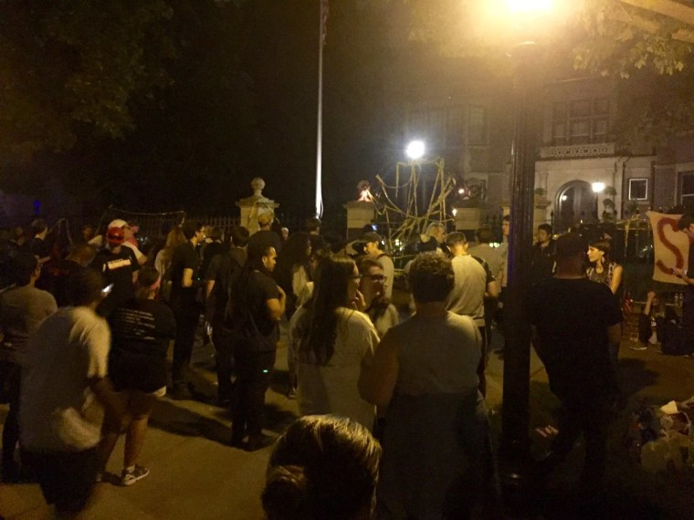 Image: Protesters chanted outside the governor's mansion in St. Paul in the early hours of Thursday after the killing of Philando Castile.