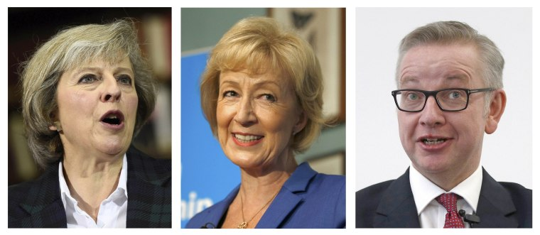 Image: Conservative Members of Parliament were choosing between Theresa May (L), Andrea Leadsom and Michael Gove.