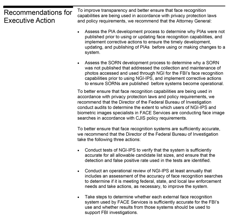 An excerpt of a Government Accountability Office report featuring recommendations to the FBI regarding its Next Generation Identification system.