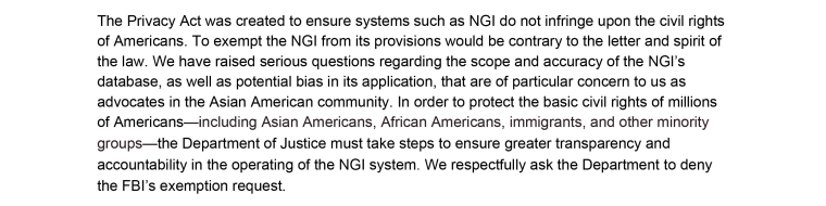 An excerpt of a letter to the Department of Justice from a coalition of Asian-American organizations.
