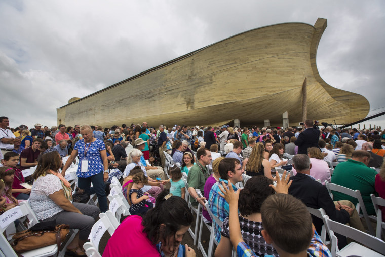 Image: Visitors gather outside Ark Encounter in Williamstown, Kentucky