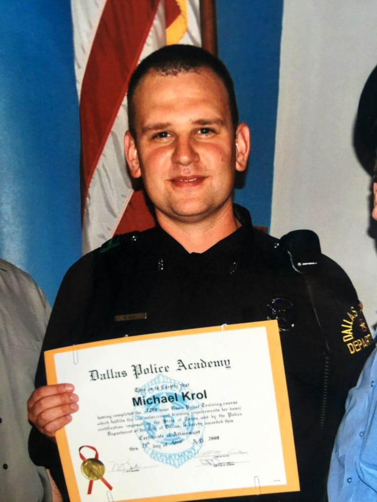 Michael Krol after graduating from the Dallas Police Academy.