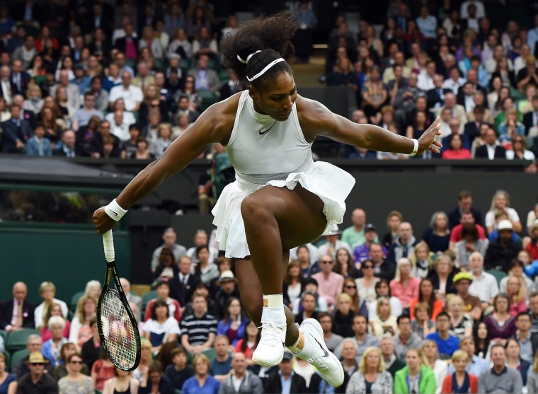 Image: Serena Williams competes against Christina McHale