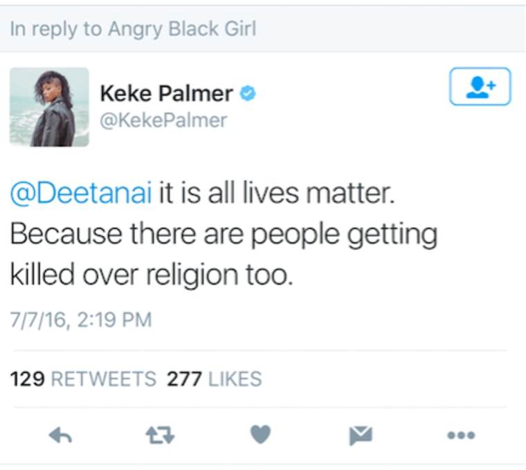 Screenshot from actress Keke Palmer's Twitter.