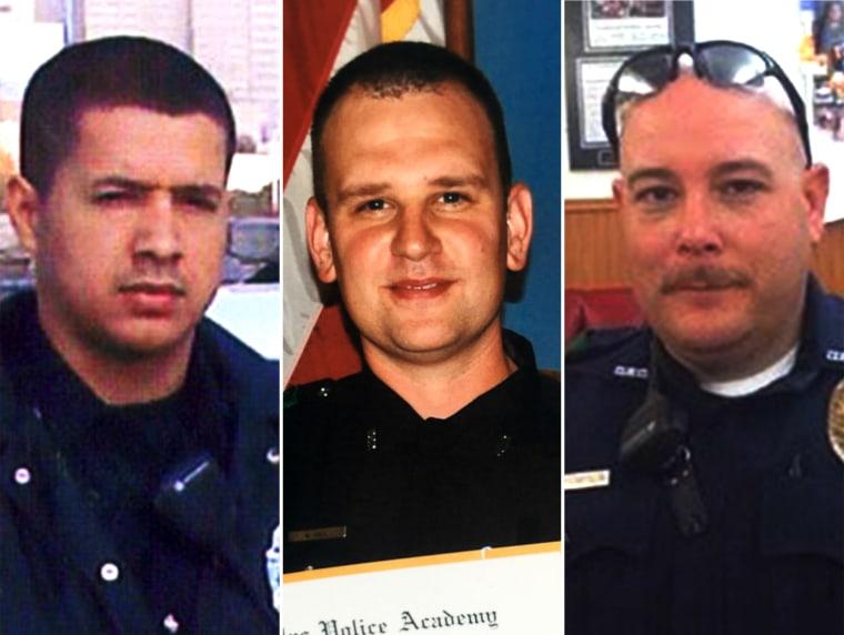 Patrick Zamarripa, Michael Krol and Brent Thompson three of the five officers who were killed in the Dallas ambush.