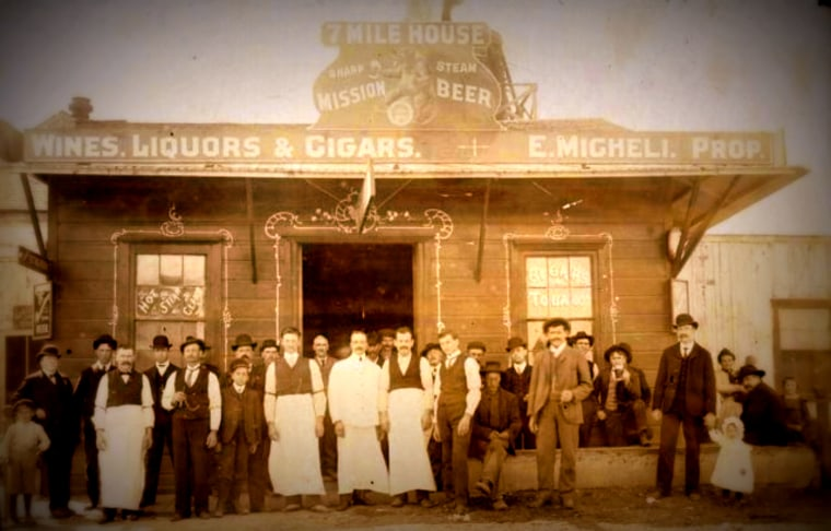 A picture of the 7 Mile Restaurant in 1904, when it was used as rest stops for stagecoaches.