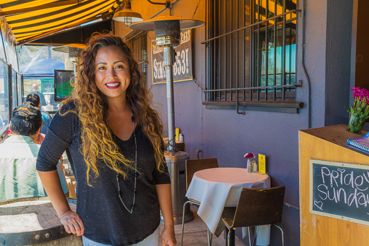 Vanessa Garcia outside the 7 Mile Restaurant, which now has a Filipino twist.