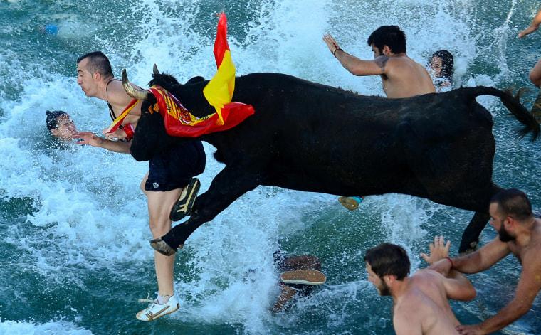Image: TOPSHOT-SPAIN-FESTIVAL-BULLS-SEA