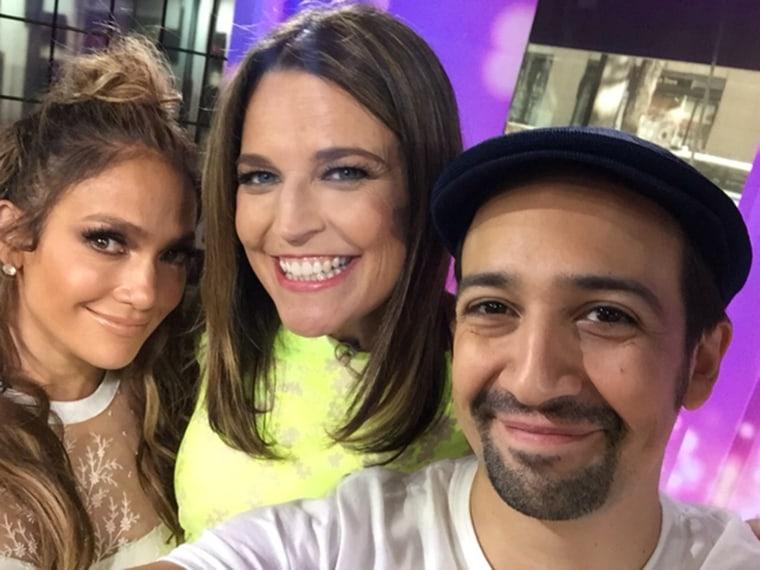 Jennifer Lopez and Lin Manuel Miranda with Savannah Guthrie