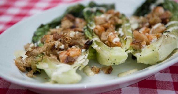 Grilled romaine shrimp Caesar