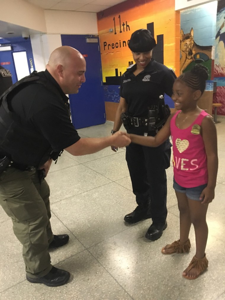 Samya McLaughlin surprised police officers with lunch bought with her birthday money