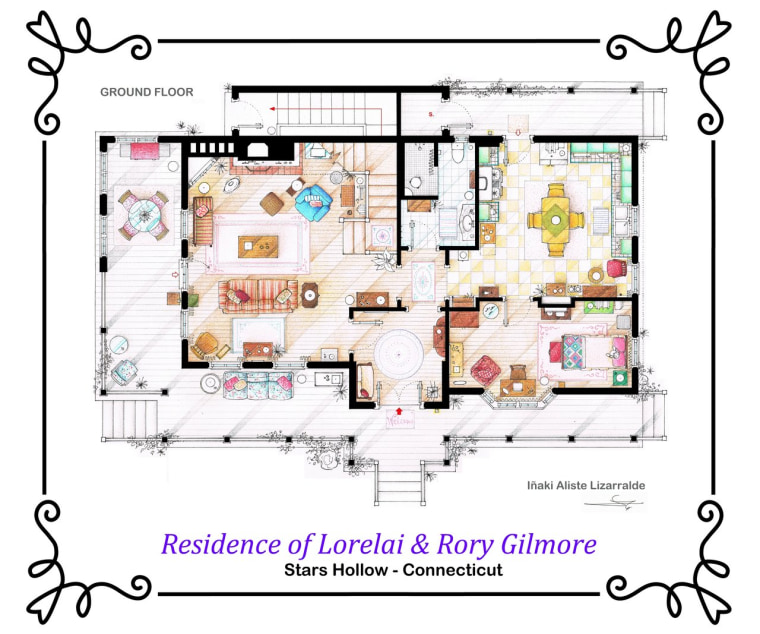 Artist draws beautiful floor plans of famous TV show homes – Sitcom House Floor Plans