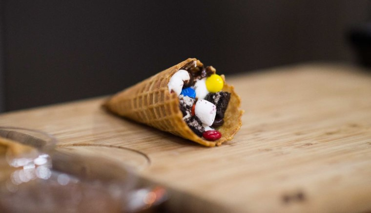 Waffle s'mores cone for dessert by Brandi Milloy