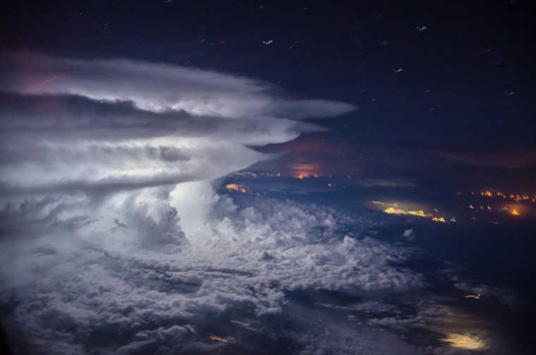 """""""Tormenta"""" taken a couple of years ago was Borja's first successful attempt at capturing a storm above Caracas, Venezuela while on a flight home to Ecuador from Europe."""