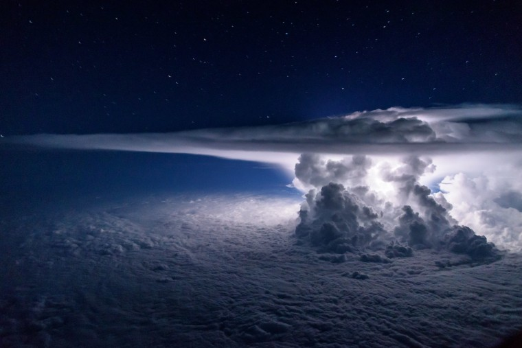 A storm rises into the atmosphere as it gathers over the Pacific Ocean by Panama City.