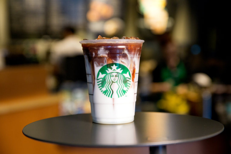Iced Coconut Milk Mocha Macchiato photographed on June 8, 2016. (Joshua Trujillo, Starbucks)