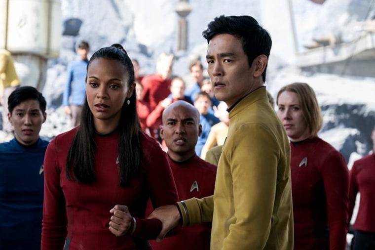 "Image: John Cho and Zoe Saldana in ""Star Trek Beyond"""