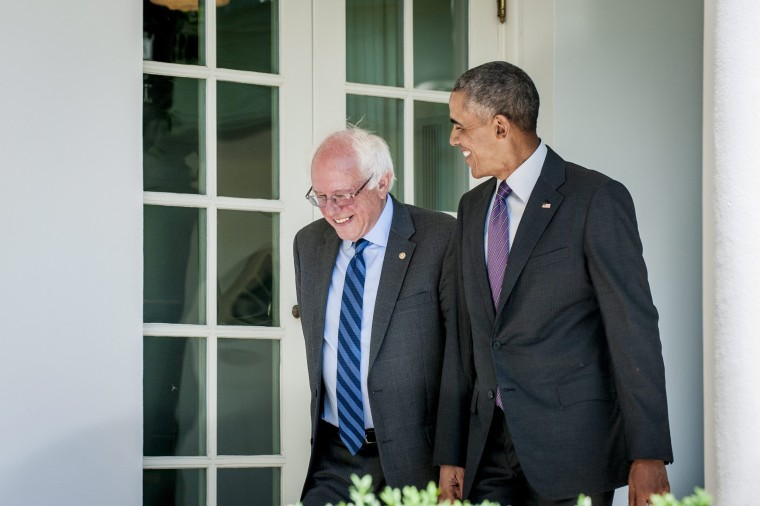 Image: US President Barack Obama meets with Democratic presidential candidate Bernie Sanders