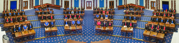 "One hundred Black female leaders gather in the Edward M. Kennedy Institutes' replica of the United States Senate chamber to take a symbolic photo for the ""Take Your Seat"" event."