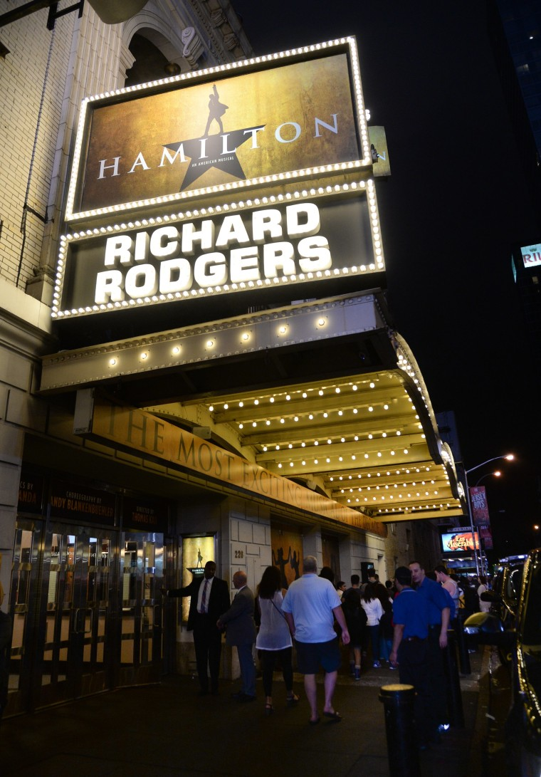 "The ""Hamilton"" marquee at the Richard Rogers Theatre in New York."
