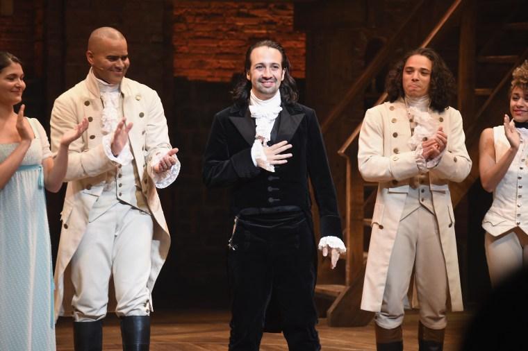 "Lin-Manuel Miranda's final performance of ""Hamilton"" on Broadway on July 9, 2016 in New York City."