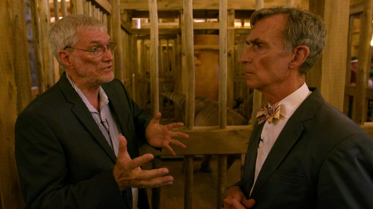 Ken Ham, creator of the Ark Encounter, and Bill Nye on July 8, 2016, during a tour of the replica.