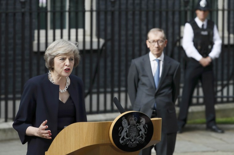 Image: Britain's Prime Minister, Theresa May, speaks to the media outside number 10 Downing Street, in central London