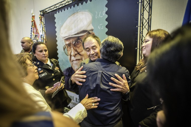 Jaime Escalante, Jr. embraces fans and supporters of his father after the ceremony.