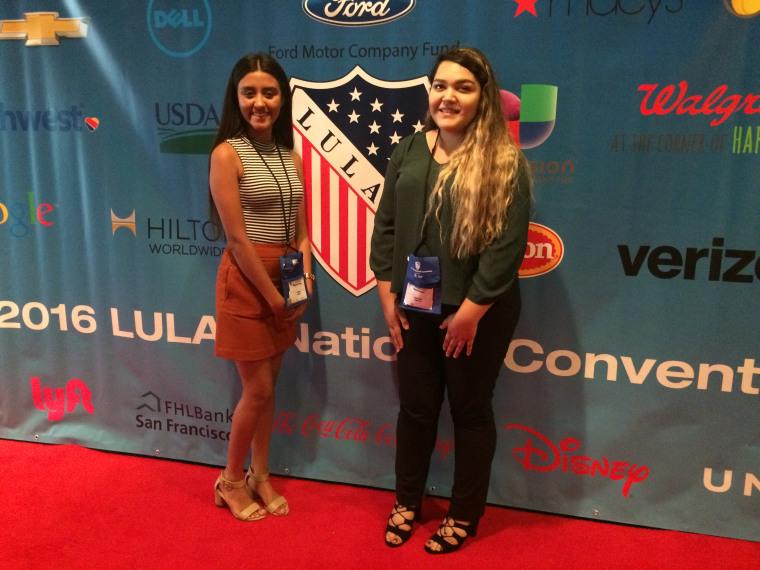 Alejandra Lozano, 18, (left) and Flora Ornelas, 18, both of Dallas, heard Bernie Sanders speak at the League of United Latin American Citizens conference in Washington, D.C. July 13, 2016.