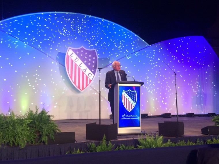 Bernie Sanders speaks at the League of United Latin American Citizens conference July 13, 2016, but only mentioned Hillary Clinton once in his speech even though he has endorsed her.