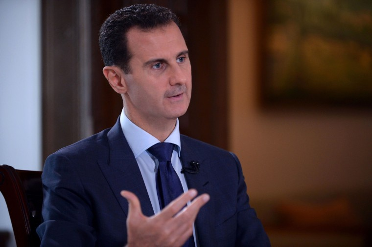 Image: Syrian President Bashar al-Assad speaking during an interview with American NBC News channel