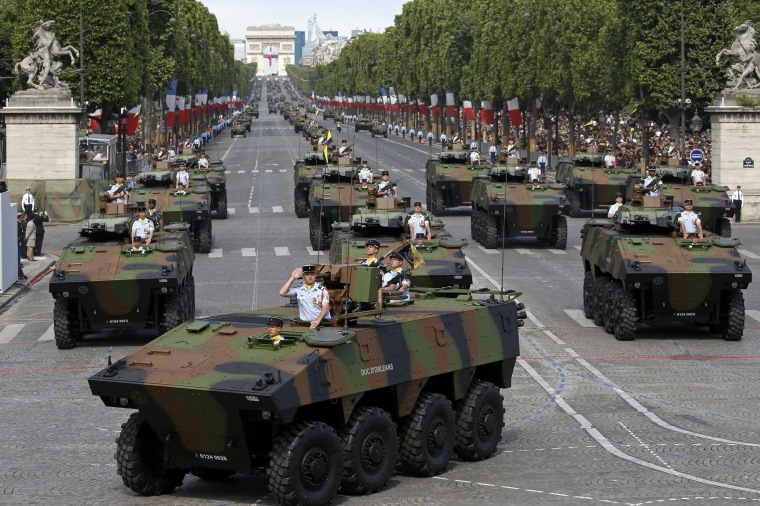 Image: French 16th hunter battalion attend the Bastille Day military parade on the Champs-Elysees in Paris